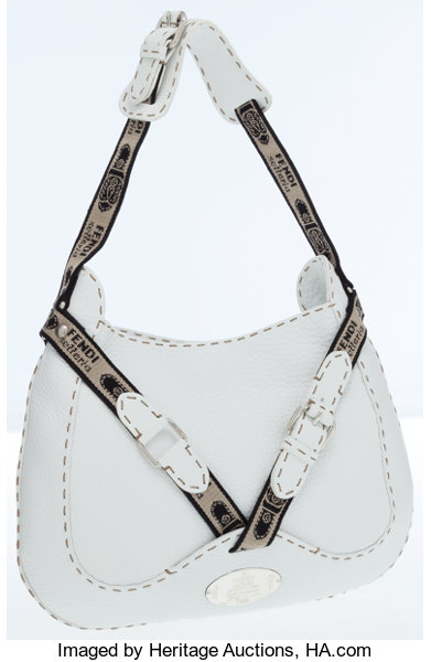 Luxury Accessories Bags Fendi White Leather Eria Shoulder Bag With Silver Hardware