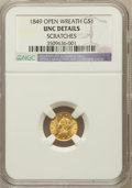 Gold Dollars: , 1849 G$1 Open Wreath -- Scratches -- NGC Details. UNC. NGC Census:(31/1228). PCGS Population (26/847). Mintage...