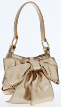 Luxury Accessories:Bags, Yves Saint Laurent Gold Metallic Leather Bow Evening Bag. ...