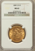Liberty Eagles: , 1889-S $10 MS62 NGC. NGC Census: (422/109). PCGS Population(381/253). Mintage: 425,400. Numismedia Wsl. Price for problem ...