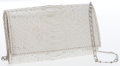 Luxury Accessories:Bags, Carlos Falchi Silver Python Clutch Bag with Shoulder Chain. ...