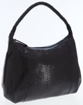 Luxury Accessories:Bags, Carlos Falchi Black Snakeskin Shoulder Tote Bag. ...