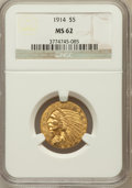 Indian Half Eagles: , 1914 $5 MS62 NGC. NGC Census: (793/526). PCGS Population (653/752).Mintage: 247,000. Numismedia Wsl. Price for problem fre...