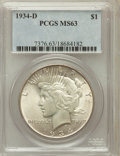 Peace Dollars: , 1934-D $1 MS63 PCGS. PCGS Population (1492/1727). NGC Census:(1132/1047). Mintage: 1,569,500. Numismedia Wsl. Price for pr...