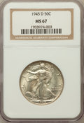 Walking Liberty Half Dollars: , 1945-D 50C MS67 NGC. NGC Census: (199/1). PCGS Population (153/0).Mintage: 9,966,800. Numismedia Wsl. Price for problem fr...