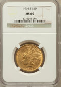 Indian Eagles: , 1916-S $10 MS60 NGC. NGC Census: (31/409). PCGS Population(26/474). Mintage: 138,500. Numismedia Wsl. Price for problem fr...