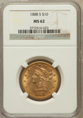 Liberty Eagles: , 1888-S $10 MS62 NGC. NGC Census: (515/85). PCGS Population(464/136). Mintage: 648,700. Numismedia Wsl. Price for problem f...