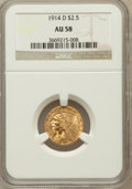 Indian Quarter Eagles: , 1914-D $2 1/2 AU58 NGC. NGC Census: (1578/8445). PCGS Population(1050/4176). Mintage: 448,000. Numismedia Wsl. Price for p...