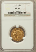 Indian Half Eagles: , 1913-S $5 AU58 NGC. NGC Census: (655/385). PCGS Population(178/313). Mintage: 408,000. Numismedia Wsl. Price for problem f...