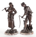 Decorative Arts, French:Other , A PAIR OF FRENCH PATINATED BRONZE FIGURES: HARVESTERS.France, circa 1900. 35 inches high (88.9 cm) (taller)... (Total: 2Items)