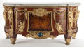 Decorative Arts, Continental:Other , A LOUIS XVI-STYLE GILT BRONZE, MAHOGANY INLAID COMMODE AFTER THEMODEL BY JEAN-HENRI RIESENER . France, circa 1900. 33 x 52-...(Total: 4 Items)