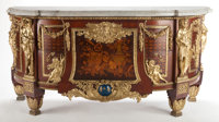 A LOUIS XVI-STYLE GILT BRONZE, MAHOGANY INLAID COMMODE AFTER THE MODEL BY JEAN-HENRI RIESENER France, circa 1900<...