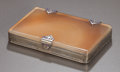 Silver Smalls:Cigarette Cases, A CONTINENTAL SILVER AND AGATE CIGARETTE BOX . Circa 1910.Unmarked. 5/8 x 3-5/8 x 2-1/2 inches (1.6 x 9.2 x 6.4 cm). ...