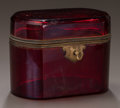 Decorative Arts, Continental:Other , A CONTINENTAL RUBY GLASS AND BRONZE MOUNTED TABLE CASKET. Circa1850. 4-1/4 x 5-5/8 x 3-5/8 inches (10.8 x 14.3 x 9.2 cm). ...