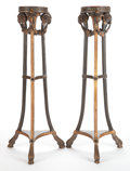 Decorative Arts, Continental:Other , A PAIR OF FRENCH EMPIRE-STYLE PAINTED AND GILT WOOD PLANT STANDS.Circa 1900. 51-1/2 inches high (130.8 cm). ... (Total: 2 Items)