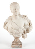 Decorative Arts, French:Other , A FRENCH BAROQUE-STYLE MARBLE BUST OF A WOMAN. Circa 1875. 30inches high (76.2 cm). ...