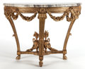 Decorative Arts, French:Other , A FRENCH LOUIS XVI-STYLE GILT WOOD AND MARBLE CONSOLE TABLE .France, circa 1875. 34 x 44 x 23 inches (86.4 x 111.8 x 58.4 c...(Total: 2 Items)