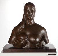 GASTON LACHAISE (French/American, 1882-1935) Bust of Woman (Garden Figure) (LF 175B) Bronze with bro