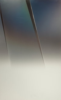 LARRY BELL (American, b. 1939) Untitled (vapor drawing), 1979 Vaporized metal on paper 58-1/4 x 3