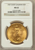Saint-Gaudens Double Eagles: , 1907 $20 Arabic Numerals MS62 NGC. NGC Census: (3147/5585). PCGSPopulation (2359/10529). Mintage: 361,667. Numismedia Wsl....