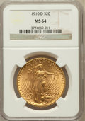 Saint-Gaudens Double Eagles: , 1910-D $20 MS64 NGC. NGC Census: (1746/479). PCGS Population(1961/1106). Mintage: 429,000. Numismedia Wsl. Price for probl...