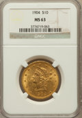 Liberty Eagles: , 1904 $10 MS63 NGC. NGC Census: (107/44). PCGS Population (164/42).Mintage: 161,900. Numismedia Wsl. Price for problem free...