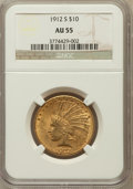 Indian Eagles: , 1912-S $10 AU55 NGC. NGC Census: (194/676). PCGS Population(156/549). Mintage: 300,000. Numismedia Wsl. Price for problem ...