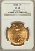 Saint-Gaudens Double Eagles: , 1910-D $20 MS64 NGC. NGC Census: (1745/479). PCGS Population(1960/1103). Mintage: 429,000. Numismedia Wsl. Price for probl...