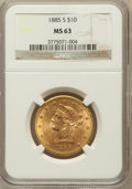 Liberty Eagles: , 1885-S $10 MS63 NGC. NGC Census: (55/2). PCGS Population (86/3).Mintage: 228,000. Numismedia Wsl. Price for problem free N...