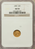 Gold Dollars: , 1850 G$1 AU55 NGC. NGC Census: (31/437). PCGS Population (45/258).Mintage: 481,953. Numismedia Wsl. Price for problem free...