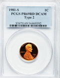 Proof Lincoln Cents, 1981-S 1C Type Two PR69 Red Deep Cameo PCGS. PCGS Population(237/0). NGC Census: (149/0). Numismedia Wsl. Price for probl...