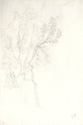 Fine Art - Work on Paper:Drawing, CAMILLE PISSARRO (French, 1830-1903). Étude d'arbre (Study of aTree) with landscape drawing verso, circa late 1850s. Pe...