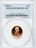 Proof Lincoln Cents, 1991-S 1C PR70 Red Deep Cameo PCGS. PCGS Population (174). NGCCensus: (106). Numismedia Wsl. Price for problem free NGC/P...