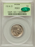 Buffalo Nickels: , 1914-D 5C MS63 PCGS. CAC. PCGS Population (247/558). NGC Census:(144/331). Mintage: 3,912,000. Numismedia Wsl. Price for p...