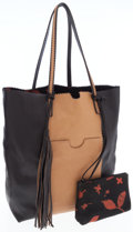 Luxury Accessories:Bags, Carlos Falchi Black & Tan Colorblock Shopping Tote Bag. ...