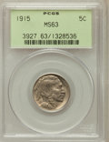 Buffalo Nickels: , 1915 5C MS63 PCGS. PCGS Population (311/1413). NGC Census:(210/863). Mintage: 20,987,270. Numismedia Wsl. Price for proble...