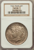 Peace Dollars: , 1921 $1 MS62 NGC. NGC Census: (1810/7427). PCGS Population(1936/8714). Mintage: 1,006,473. Numismedia Wsl. Price for probl...