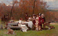 ADRIEN MOREAU (French, 1843-1906) The Gathering Oil on canvas 26 x 41-1/2 inches (66.0 x 105.4 cm