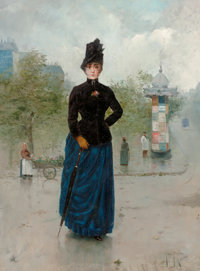 VICENTE GOMEZ Y PLASENT (Spanish, 19th Century) La Parisienne, 1886 Oil on canvas 28-3/4 x 21-1/4