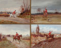 Paintings, HENRY FREDERICK LUCAS LUCAS (British, 1848-1943). Set of Four Hunting Sketches: Blood Wanted, Get Away Back There!, Bringi...