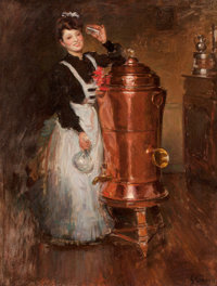 JULES ALEXANDRE GRÜN (French, 1868-1934) La Buveuse Oil on canvas 25-1/2 x 19-1/2 inches (64.8 x