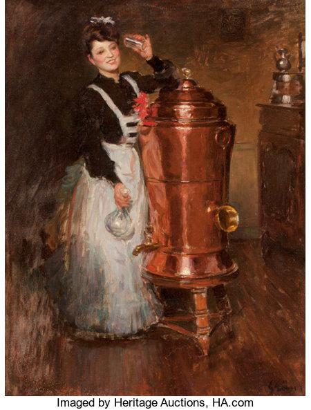 JULES ALEXANDRE GRÜN (French, 1868-1934) La Buveuse Oil on canvas 25-1/2 x 19-1/2 inches (64.8 x 49.5 cm) Signed low...