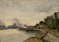 Fine Art - Painting, European, JULES PETILLION (French, 1845-1899). Two River Landscapes withCity Views across the Water (double-sided painting), ...