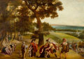 Fine Art - Painting, European:Antique  (Pre 1900), School of ANTON MIROU (Flemish, 1586-1661). The Reconciliationof Jacob and Esau in and Extensive Wooded Landscape, 17th...