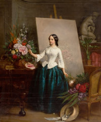 JEAN-BAPTISTE-ANTOINE-EMILE BERANGER (French, 1814-1883) Woman Flower Painter at the Easel (almost certainly a