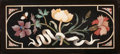 Decorative Arts, Continental, SEVEN PIETRA DURA PLAQUES AND A MICROMOSAIC PLAQUE IN THREE FRAMES.Early 20th century. 8-3/4 inches high x 4 inches wide (2... (Total:3 Items)