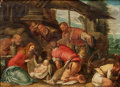 Fine Art - Painting, European:Antique  (Pre 1900), After JACOPO DA PONTE BASSANO (Italian, 1510-1592). TheAdoration of the Shepherds, 17th century. Oil on cradled panel....