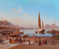 Fine Art - Painting, European, EDWARD WILLIAM COOKE (British, 1811-1880). Naples with VesuviusBeyond. Oil on canvas. 20 x 25 inches (50.8 x 63.5 cm). ...