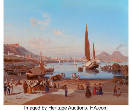 EDWARD WILLIAM COOKE (British, 1811-1880) Naples with Vesuvius Beyond Oil on canvas 20 x 25 inches (50.8 x 63.5 cm) ...