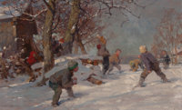 FRITZ FREUND (German, 1859-1942) The Snowball Fight Oil on canvas 21-1/2 x 35 inches (54.6 x 88.9